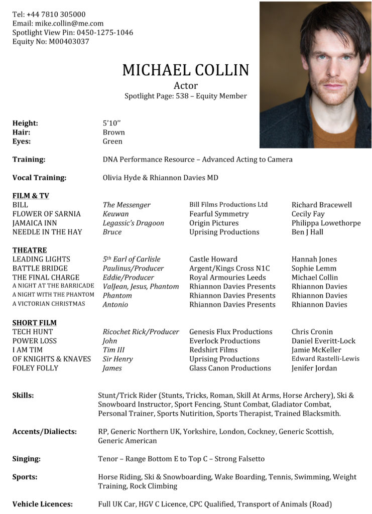 Microsoft Word - MICHAEL COLLIN ACTING CV 2014.docx